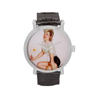 Colorante original 9 del chica modelo del vintage relojes de pulsera