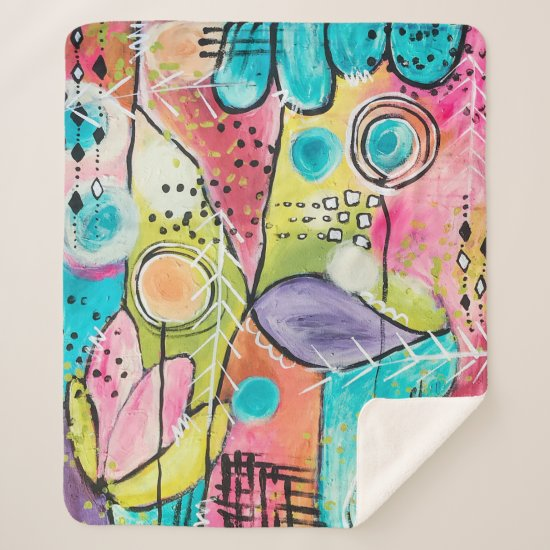 Colorblock Artistic Abstract Whimsical Colorful Sherpa Blanket