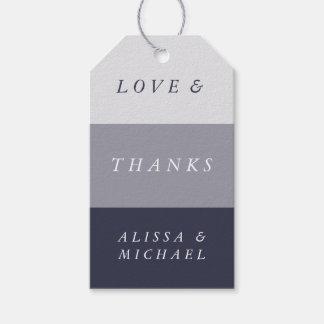 Colorblock azul de medianoche ahumado le agradece etiquetas para regalos