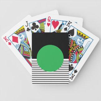 Colorblock blanco negro y círculo verde baraja de cartas bicycle