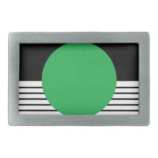 Colorblock blanco negro y círculo verde hebilla cinturon rectangular