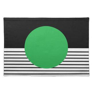 Colorblock blanco negro y círculo verde manteles individuales