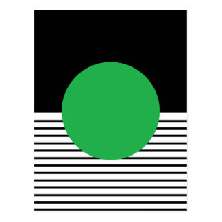 Colorblock blanco negro y círculo verde postal