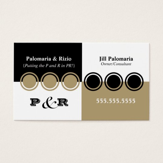 Colorblock Business Card in Black and Tan