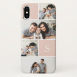 "Colorblock Photo Collage &amp; Monogram iPhone X Case<br><div class=""desc"">Chic photo collage phone case features five of your favorite photos in a gridded layout with contrasting blush pink squares. Personalize with your single initial monogram in white.</div>"