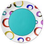 Colorblock Retro Hoops Plate - Turquoise Porcelain Plate