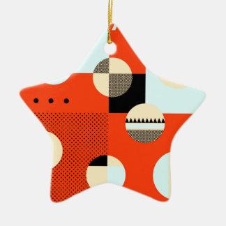 #ColorBlocks rojos y azules Adorno Navideño De Cerámica En Forma De Estrella