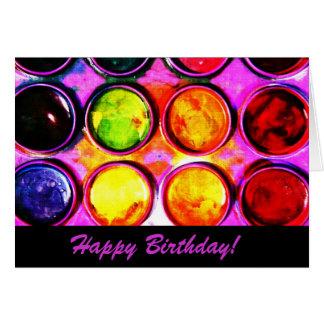 colorbox vibrante de la pintura de la acuarela - tarjeta de felicitación