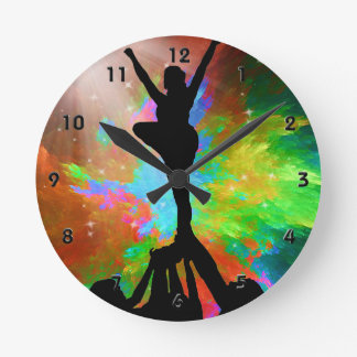 Colorburst Background with Cheerleaders. Round Wall Clocks