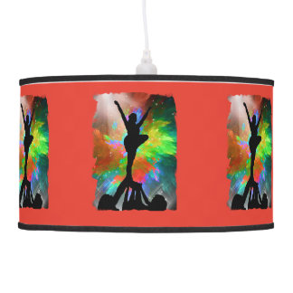 Colorburst Background with Cheerleaders Pendant Lamps