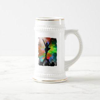 Colorburst Background with Cheerleraders Beer Stein