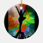 Colorburst Background with Cheerleraders Double-Sided Ceramic Round Christmas Ornament