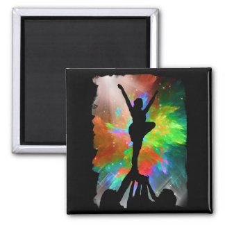 Colorburst Background with Cheerleraders 2 Inch Square Magnet