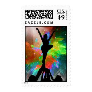 Colorburst Background with Cheerleraders Stamp