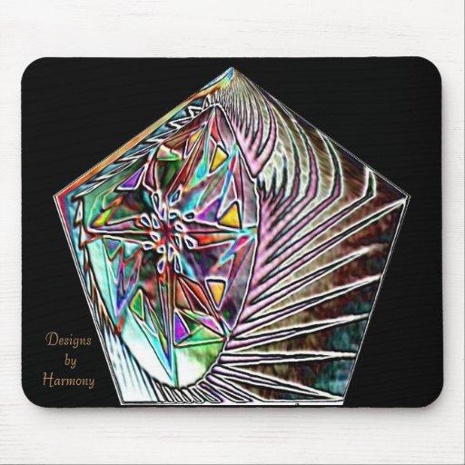 Colorburst Foil Pentagon Black Mouse Mat