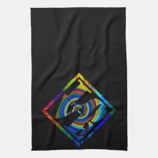 colorburst framed spiral square love angled hand towel