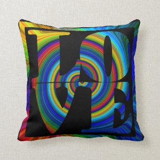 colorburst framed spiral square love black pillow