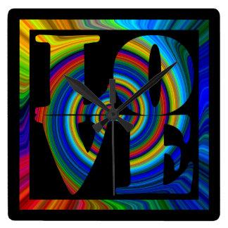 colorburst framed spiral square love square wallclock