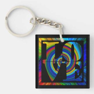 colorburst framed spiral square love key fob keychain