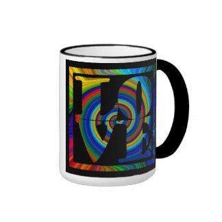 colorburst framed spiral square love ringer coffee mug