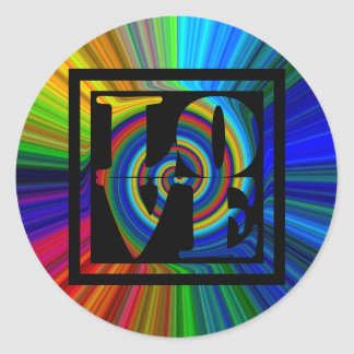 colorburst framed spiral square love classic round sticker
