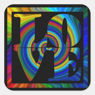 colorburst framed spiral square love square sticker