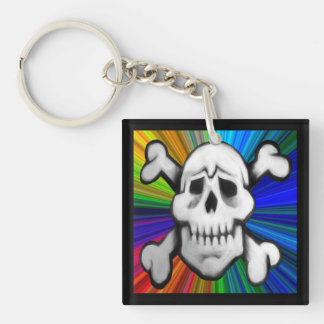 colorburst pirate skull key protector key fob Double-Sided square acrylic keychain