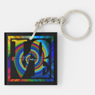 colorburst spiral square love 2 sided key fob