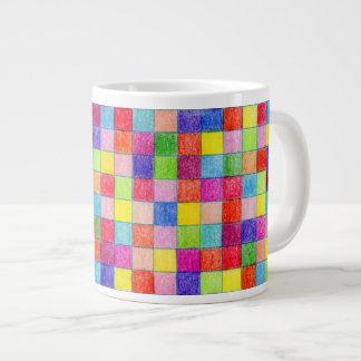 Coloreado en cuadrados del papel cuadriculado taza grande