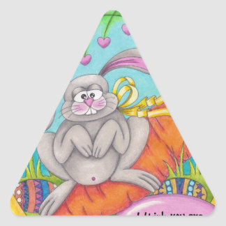 Colorear-palabras del conejito pegatina triangular