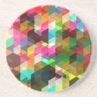 Colored-Abstract-Vector-Art COLORFUL TRIANGLES SQU Drink Coaster