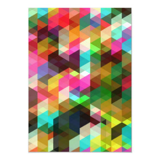 """Colored-Abstract-Vector-Art COLORFUL TRIANGLES SQU 5"""" X 7"""" Invitation Card"""