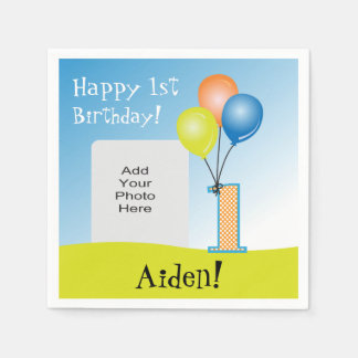 Colored Balloons Child s 1st Birthday Photo Paper Napkin