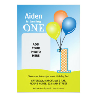 Colored Balloons Child's 1st Birthday Photo Card