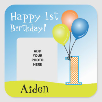 Colored Balloons Child's 1st Birthday Photo Square Sticker