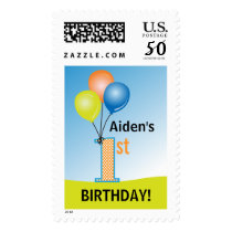 Colored Balloons Child's 1st Birthday Postage