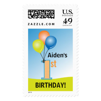 Colored Balloons Child's 1st Birthday Postage Stamp