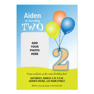 Colored Balloons Child's 2nd Birthday Photo Custom Announcements