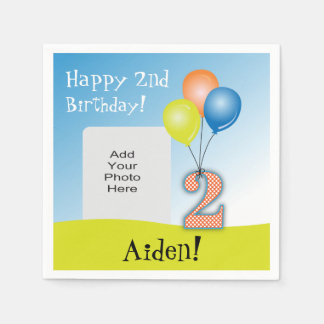 Colored Balloons Child's 2nd Birthday Photo Paper Napkin