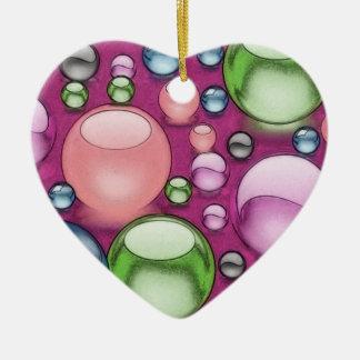 Colored Balls Pastel Heart Ceramic Ornament