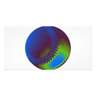 Colored Baseball Personalized Photo Card