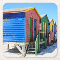 Colored Beach Huts Square Paper Coaster