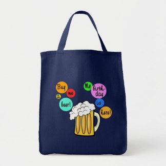 Colored Beer Bubbles Birthday Tshirt Bags