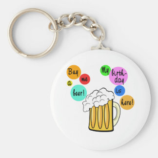 Colored Beer Bubbles Birthday Tshirt Keychain