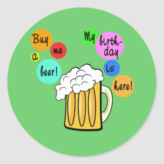 Colored Beer Bubbles Birthday Tshirt Round Sticker