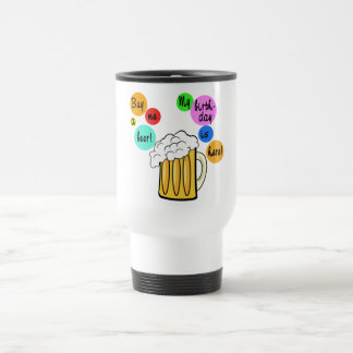Colored Beer Bubbles Birthday Tshirt Travel Mug
