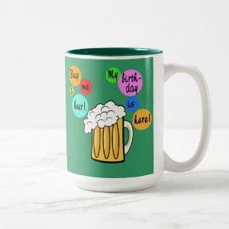 Colored Beer Bubbles Birthday Tshirt Two-Tone Coffee Mug