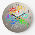 Colored Bicycles Large Clock