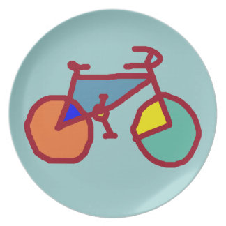 colored bicycles melamine plate