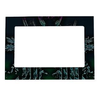 Colored Black Fractal Design Magnetic Picture Frame